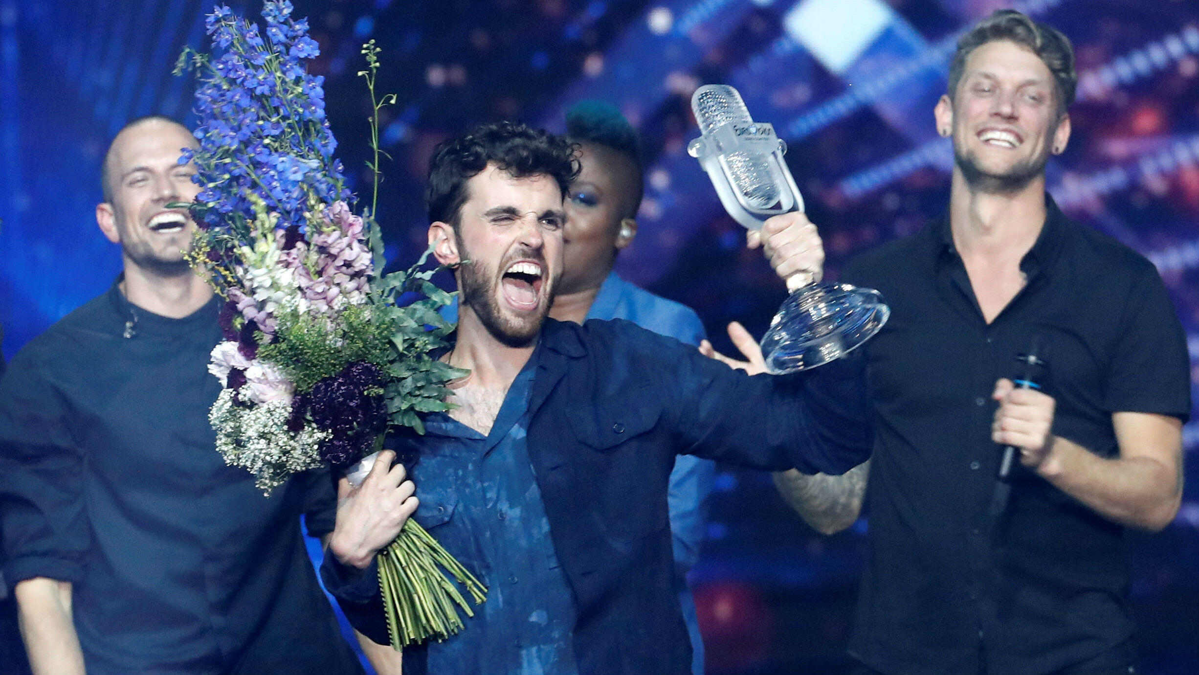 Duncan Laurence de Países Bajos reacciona después de ganar el Festival de la Canción de Eurovisión 2019 en Tel Aviv, Israel, el 19 de mayo de 2019.