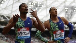 Le Français Wilhem Belocian 2e du 110 m haies et son compatriote Pascal Martinot-Lagarde 4e en Ligue de Diamant à Londres le 21 juillet 2019