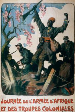 """Une affiche de 1917 regroupant selon Richard Fogarty """"les stéréotypes sur les soldats d'Afrique de l'Ouest considérés comme des guerriers sauvages et primitifs""""."""