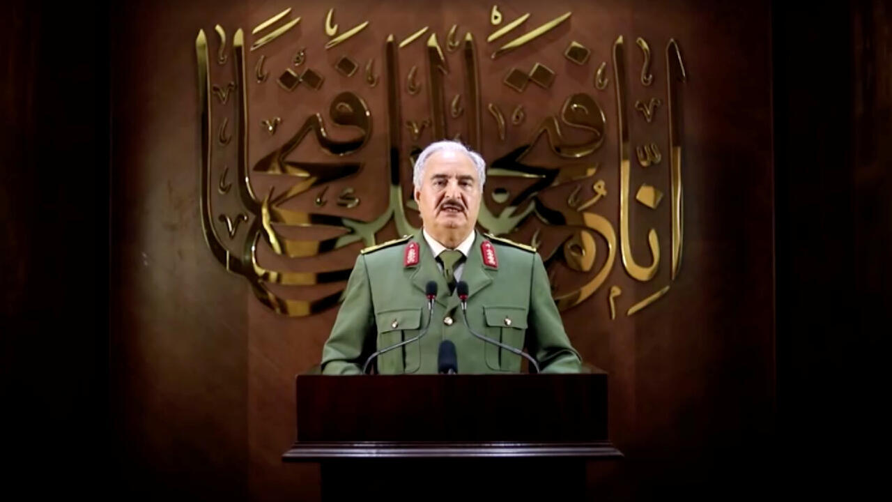 Libya's eastern-based military leader Khalifa Haftar is seen in an unknown location in this screen grab taken from a video released on April 27, 2020.