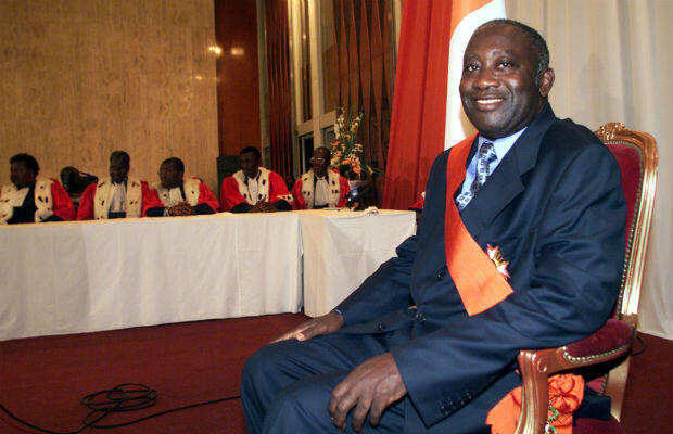 Laurent Gbagbo smiles as he his sworn as Ivory Coast's new president on October 26, 2000.