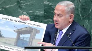 El primer ministro israelí, Benjamin Netanyahu, se dirige a la 73ª sesión de la Asamblea General de las Naciones Unidas en la sede de los Estados Unidos en Nueva York, EE. UU., El 27 de septiembre de 2018.