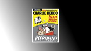 """La une de l'hebdomadaire satirique signée du caricaturiste Juin, montre une camionnette s'éloignant après avoir tué des passants, avec en dessous la phrase : """"islam, religion de paix... éternelle""""."""