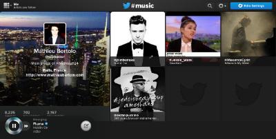 L'interface sur le site de Twitter #Music