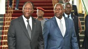 Le président ivoirien, Alassane Ouattara, et le Premier ministre démissionnaire, Daniel Kablan Duncan.