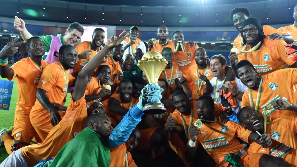 L'équipe de la Côte d'Ivoire célèbre sa victoire dans la CAN-2015, le 8 février 2015
