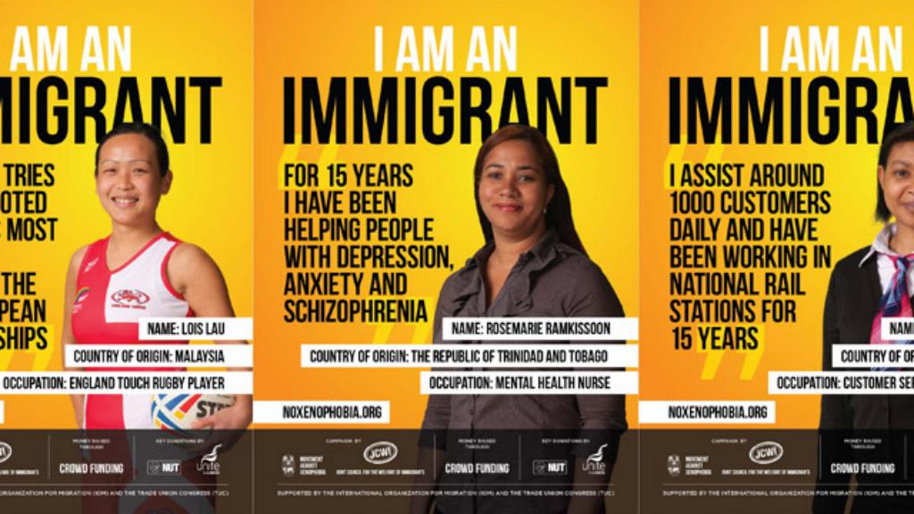 Des affiches de la campagne du collectif Movement Against Xenophobia, placardées dans les transports britanniques depuis le 13 avril 2015