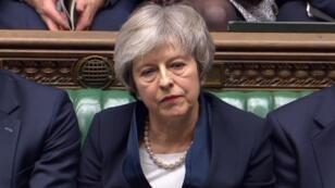 Theresa May lors du vote de la Chambre des communes, mardi 15 janvier 2019.
