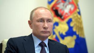 Le président russe Vladimir Poutine lors d'une réunion à la résidence Novo-Ogaryovo, près de Moscou, le 6 mai 2020.