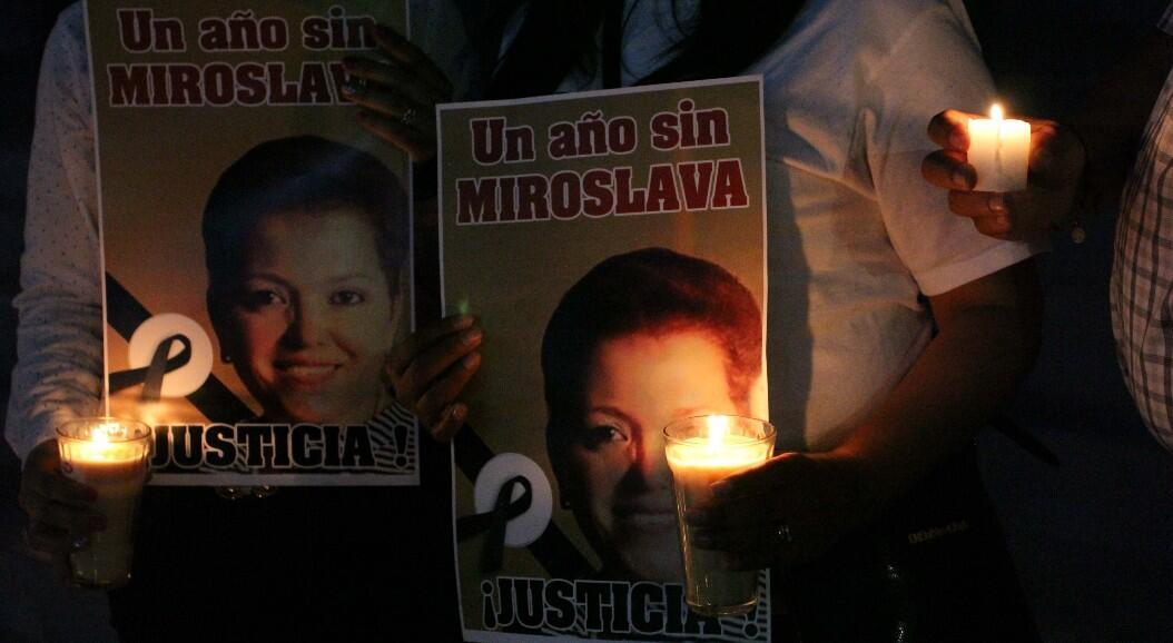 Archivo-Fotografía tomada durante una protesta para pedir justicia por el asesianto de la periodista mexicana Miroslava Breach, en el primer aniversario de su muerte, en Ciudad Juárez, México, el 22 de marzo de 2018.