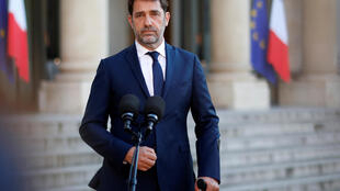 French Interior Minister Christophe Castaner speaks in front of the Elysee Palace on May 19 2020.