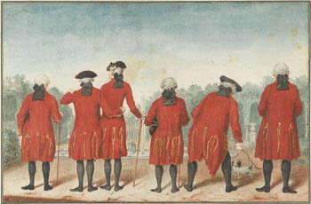 'Les Gentilshommes du Duc d'Orléans dans l'habit de Saint Cloud' sold for €531,000, a record for a work by Louis Carrogis de Carmontelle.