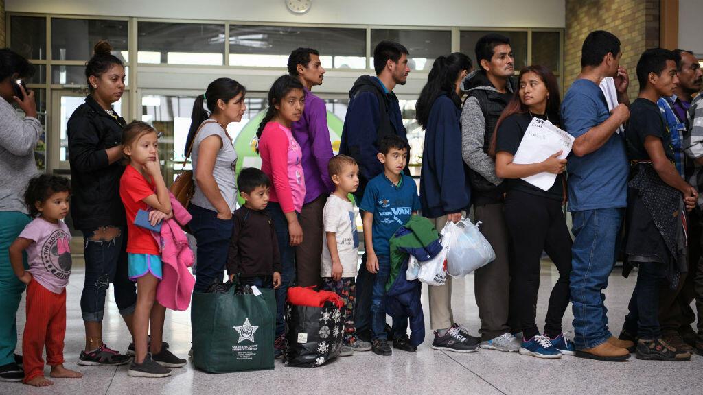 Un grupo de migrantes en Texas, Estados Unidos, el 16 de mayo de 2019.