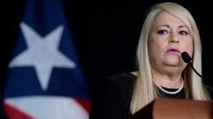 La gobernadora Wanda Vázquez Garced ofrece una conferencia de prensa para anunciar la extensión del toque de queda por el Covid-19 hasta el 15 de junio, en San Juan, Puerto Rico, el jueves 21 de mayo de 2020.