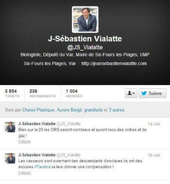 Le message effacé par le député Jean-Sébastien Vialatte