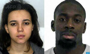 Amedy Coulibaly (right), 32, has been identified as the gunman who held hostages at a kosher supermarket in eastern Paris. His partner Hayat Boumeddiene, 27, is still at large.