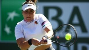 La Canadienne Bianca Andreescu face à l'Espagnole Garbine Muguruza en quarts de finale du Masters 1000 d'Indian Wells, le 13 mars 2019