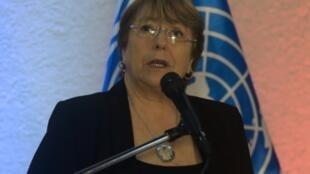 مفوضة الأمم المتحدةالسامية لحقوق الإنسان ميشيلباشليه خلال مؤتمر صحافي في كراكاس بتاريخ 21 حزيران/يونيو 2019