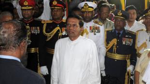 Maithripala Sirisena lors de sa prestation de serment.