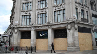 A Nike shop boarded up in Oxford Circus, London, UK, on June 7, 2020.