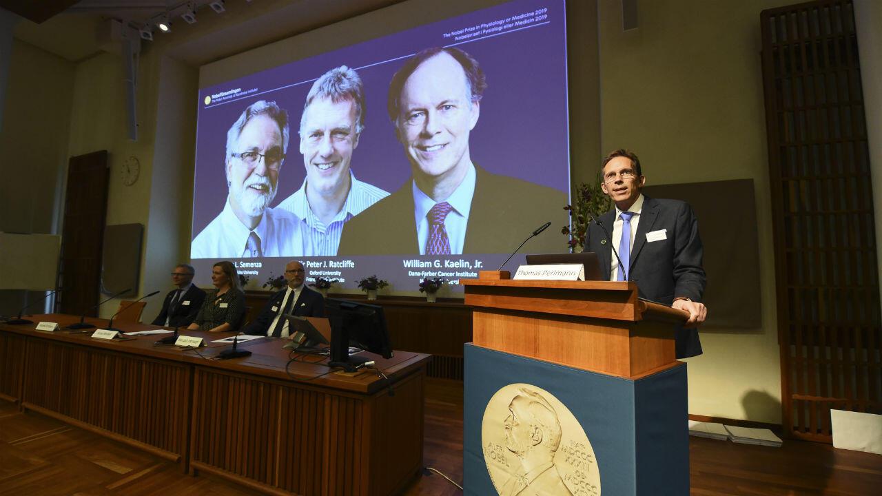 Les lauréats Gregg Semenza (à gauche), Peter Ratcliffe (centre) et William Kaelin (droite) prix Nobel de médecine à Stockholm, le 7 ocotobre 2019.