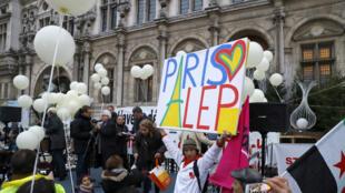 Manifestation de solidarité avec Alep devant l'Hôtel de Ville de Paris
