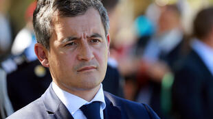 "French Interior Minister Gerald Darmanin looks on during a visit on the theme of the ""learning summer camps"" at Chambord castle, France July 22, 2020."