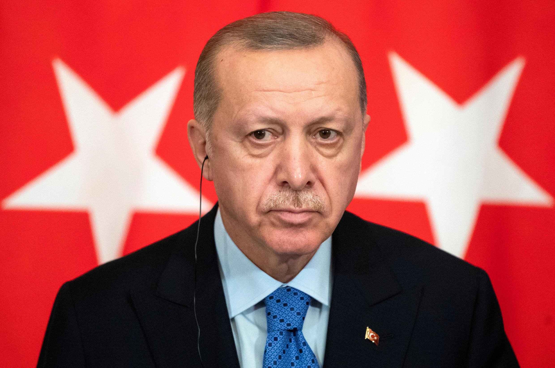 Le président turc Recep Tayyip Erdogan lors d'une conférence de presse conjointe avec son homologue russe Vladimir Poutine, le 5 mars 2020, à Moscou.