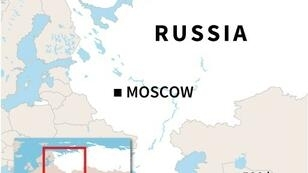 Map of Russia locating Severomorsk in the far north, where the defence ministry said 14 crew died in a fire on a deep submersible