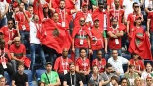 أنصار المنتخب المغربي خلال مباراته ضد إيران ضمن كأس العالم في روسيا، 15 حزيران/يونيو 2018.