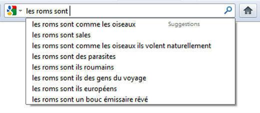 """Ci dessous, les premières réponses proposées par Google lorsque l'on tape : """"Les Roms sont..."""""""