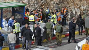 Les forces israéliennes sur les lieux de l'attaque, le 13 décembre 2018.