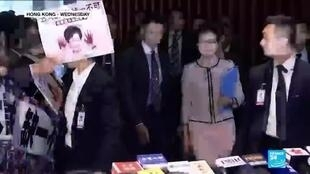 2019-10-16 10:36 Hong Kong's Carrie Lam abandonned policy speech after heckles from lawmakers