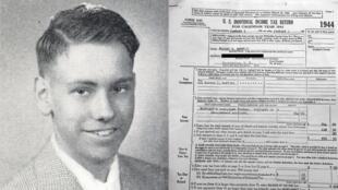 Warren Buffett à l'époque du lycée, et, ci-contre, sa première déclaration d'impôt.