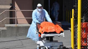 نقل جثث إلى شاحنة مبردة بالقرب من مستشفى وايكوف هايتس في نيويورك في 02 نيسان/ابريل 2020