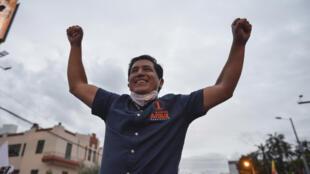 El candidato presidencial de la coalición ecuatoriana Unión por la Esperanza, Andrés Arauz, en un mitin de cierre de campaña en Quito, el 4 de febrero de 2021