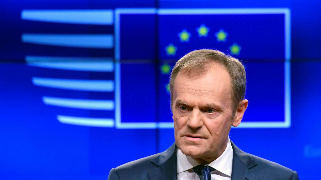 El presidente del Consejo Europeo, Donald Tusk, hace una declaración sobre el Brexit antes de la cumbre de la Unión Europea en Bruselas, Bélgica, el 20 de marzo de 2019.