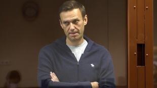 Alexei Navalny at a court hearing in Moscow.