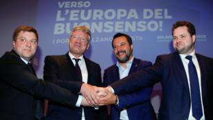 El vicepresidente italiano, Matteo Salvini, se reúne con los líderes de partidos de extrema derecha. Milán, Italia, el 8 de abril de 2019.