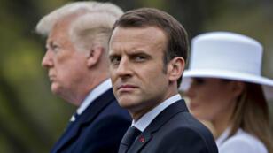 Emmanuel Macron lors de sa réception à la Maison Blanche par son homologue Donald Trump, le 24 avril 2018.