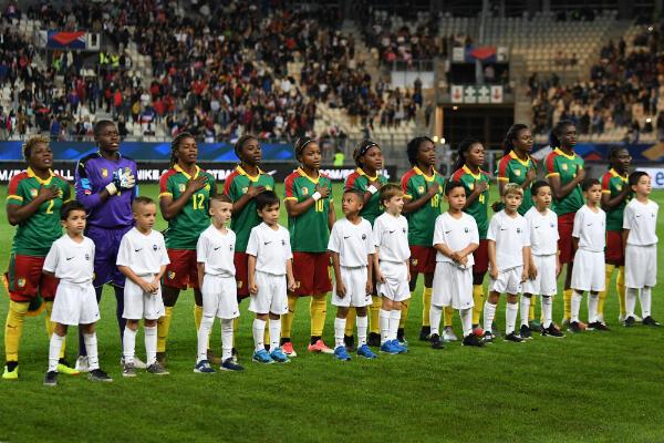 L'équipe féminine du Cameroun lors d'un match contre la France à Grenoble, le 9 octobre 2018.