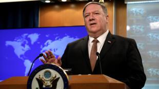 El secretario de Estado de Estados Unidos, Mike Pompeo, habla durante una sesión informativa sobre Irán en el Departamento de Estado. Washington, EE. UU., el 8 de abril de 2019.