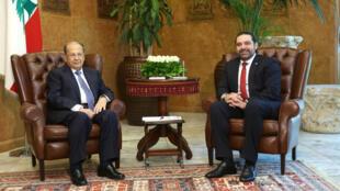 Le président libanais Michel Aoun et le Premier ministre Saad Hariri, le 2 novembre.
