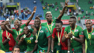 منتخب بوركينا فاسو عقب انتهاء المباراة التي جمعته بنظيره الغاني في بورت جانتيي 04 شباط/فبراير 2017