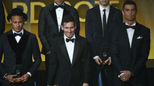 De g. à d., Neymar, Lionel Messi et Cristiano Ronaldo.