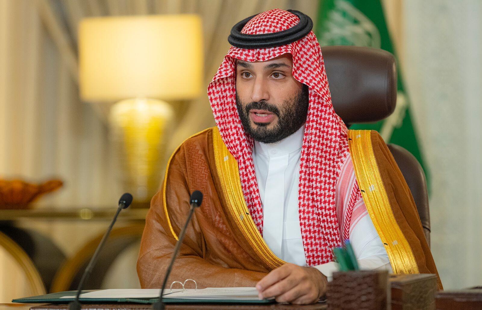 El príncipe heredero, Mohamed bin Salmán, habla durante la apertura del foro sobre medioambiente Iniciativa Verde Saudí, el 23 de octubre de 2021 en Riad