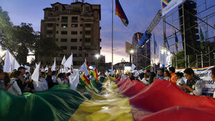 Des Boliviens manifestent à Cochabamba, le 21 novembre 2019.