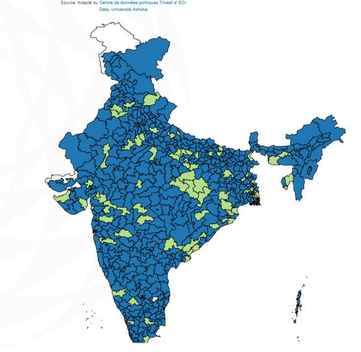 Carte des gagnants selon le genre et selon les régions (femmes élues en vert, hommes élus en bleu).
