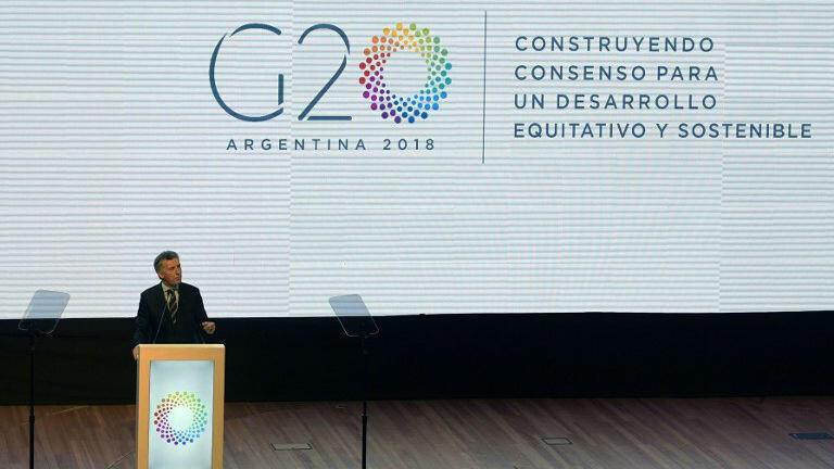 El Presidente de Argentina, Mauricio Macri, pronuncia un discurso durante la ceremonia de presentación de la presidencia argentina del G20 en Buenos Aires, Argentina el 30 de noviembre de 2017