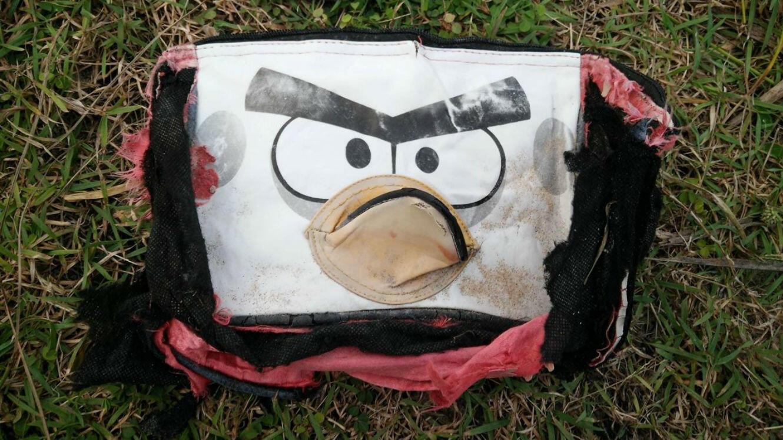 """Un sac """"Angry Birds"""", retrouvé sur une plage au nord-est de Madagascar."""